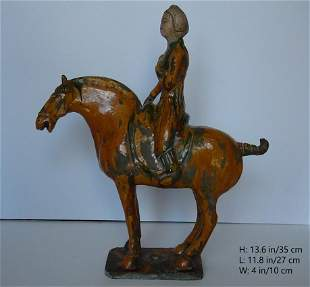 CHINESE ANTIQUE TANG TRI COLOR LADY RIDE ON HORSE