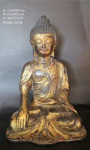 OLD CHINESE ANTIQUE GILT BRONZE BUDDHA STATUE A