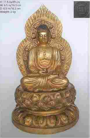 CHINESE ANTIQUE GILT BRONZE SHAKYAMUNI AMITABHA BUDDHA