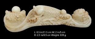 OLD CHINESE ANTIQUE WHITE JADE FISH Ru Yi