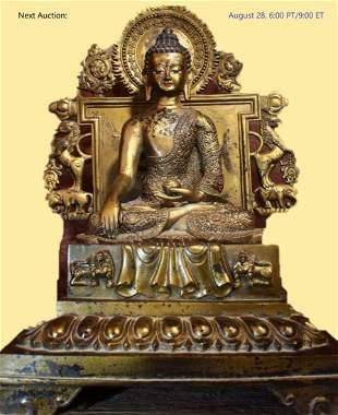 CHINESE ANTIQUE GILT BRONZE BUDDHA STATUE LARGE SIZE