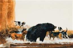 149: Kuhn, Bob: Hounds Attacking a Black Bear