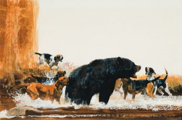 149: Kuhn, Bob: Hounds Attacking a Black Bear