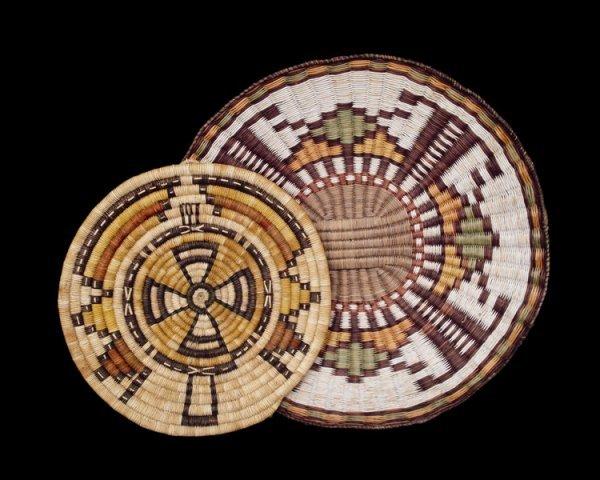 516: A pair of Hopi polychrome basketry plaques, second