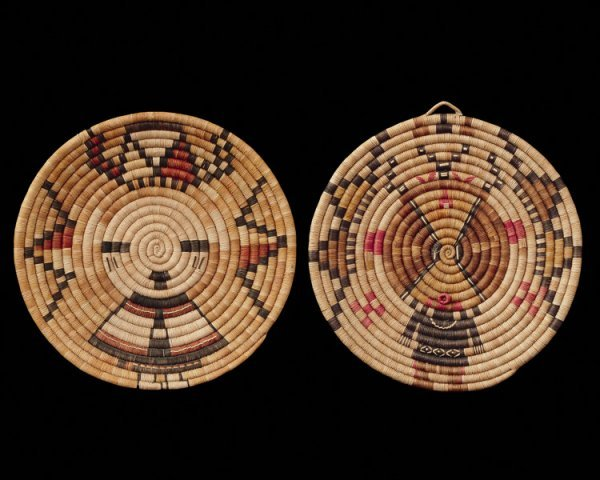 517: A pair of Hopi basketry plaques, mid 20th century.