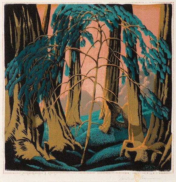 6: Gustave Baumann 1881-1971; Redwood ; Woodblock, No
