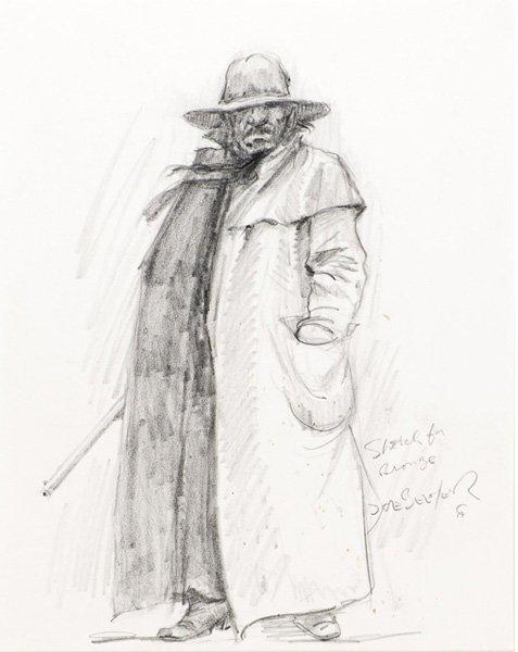 11: Joe Beeler 1931-2006; Sketch for Bronze ; Pencil;