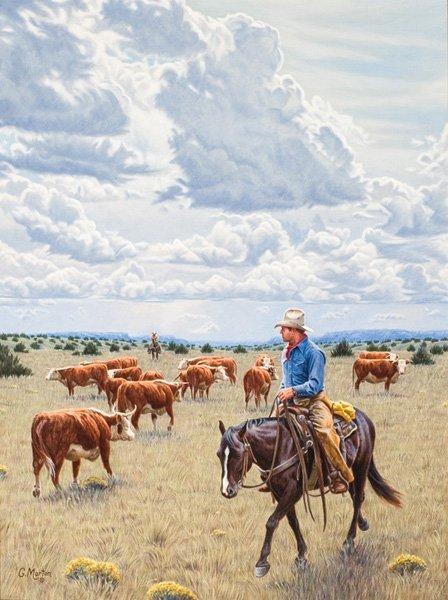 15: Gary Morton b. 1951; A Cowboyin' Day ; Acrylic; 2