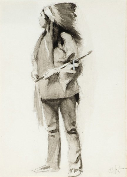 31: Edward Hopper 1882-1967; Indian with Peace Pipe ;