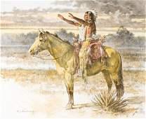 34: Roy Andersen b. 1930; Kiowa Sun ; Graphite & Wate
