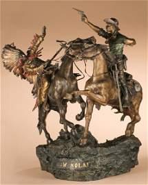 """40: Carl Kauba 1865-1922; """"How-Kola!""""' ; Bronze; 23 i"""