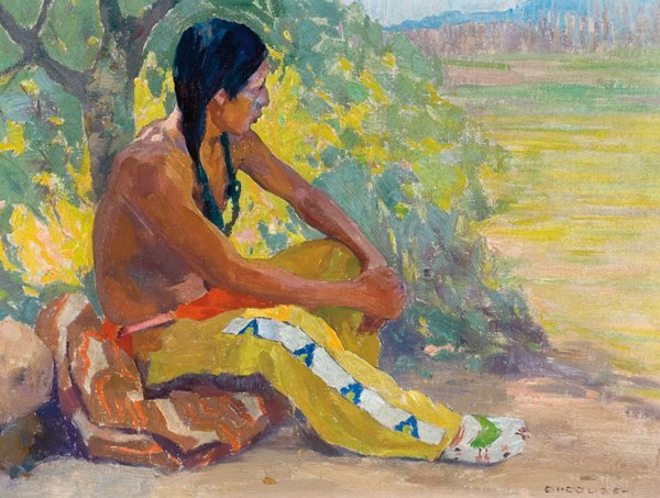 77: Eanger Irving Couse 1866-1936; Contemplation ; Oi