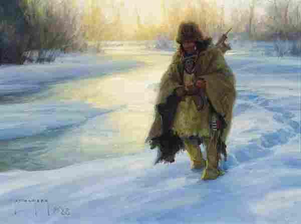 Robert Duncan b. 1952; Along Frozen Trails ; Oil