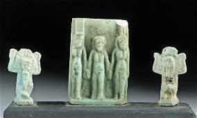 Lot of 3 Egyptian Glazed Faience Amulets