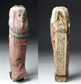 Egyptian Late Dynastic Wood Coffin Model Sarcophagus