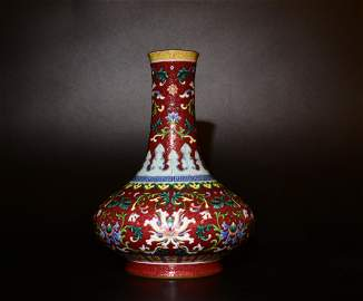 A FOREIGH COLORED VASE WITH CONCAVE LINES IN QIANLONG