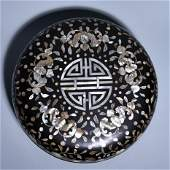 A HOLDING BOX WITH MOTHER-OF-PEARL INLAID