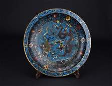 Qing dynasty cloisonne plate  with dragon and phoenix