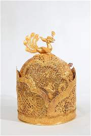 Chinese Rare Hollowed Pure Gold Hat