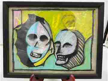 Original Untitled Framed Gouache By Gary Spradling