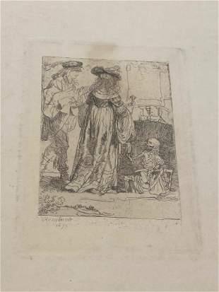 1st Pass Original Rembrandt Etching 1639