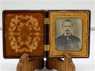 Tintype Of Civil War Officer M.E. Sgt. w/ I.D. Papers