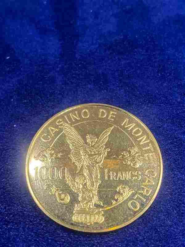 18k Gold Monte Carlo Casino Chip