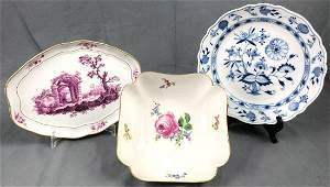 Serving plate, bowl and plate Meissen. Porcelain.