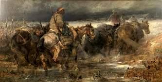 Christian Adolf SCHREYER 1828  1899 Arabian riders