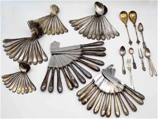 800 silver, half moon crown. Cutlery.