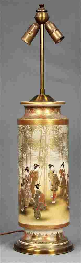 Lamp. Foot probably vase Satsuma Japan. 87 cm high.