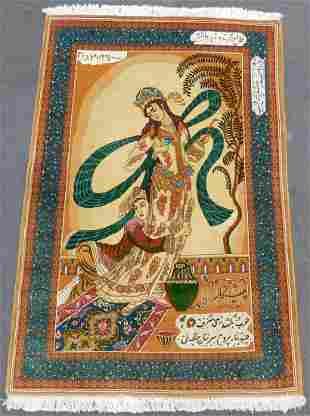 Tabriz Persian carpet. Pictorial rug. Iran. Very fine