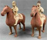 2 riders on horse, earthenware. Terracotta. Probably