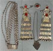 5 pieces of Turkmen jewelry. Probably Central Asia