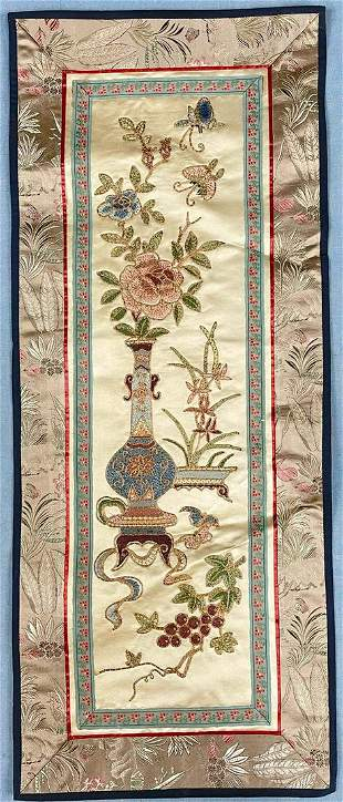 Fine embroidery. Textile also silk. Probably China