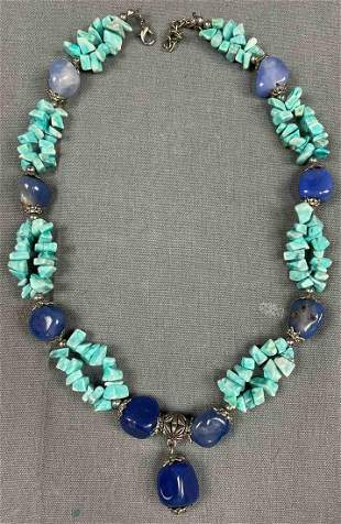 Necklace. Probably India, Nepal, Tibet, turquoise, blue