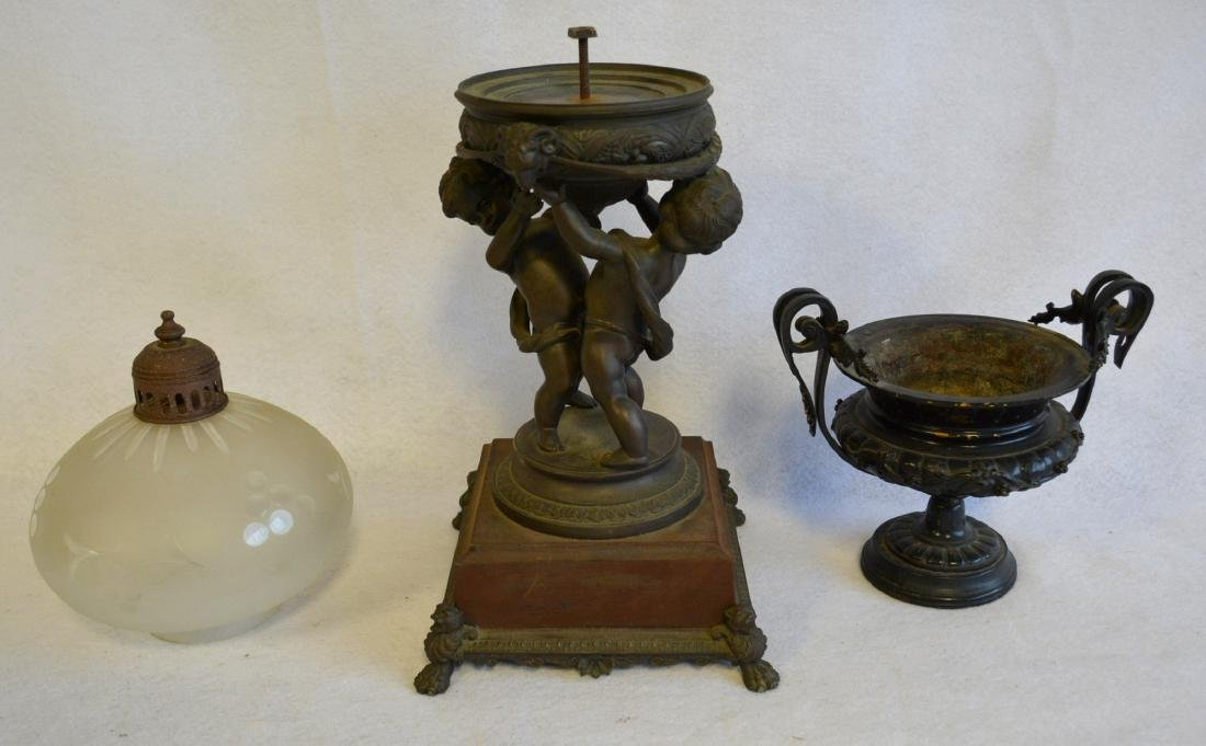 Two decorative collectibles including a small bronze 19