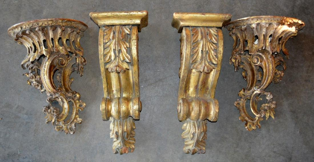 Grouping of 4 carved wood architectural elements in