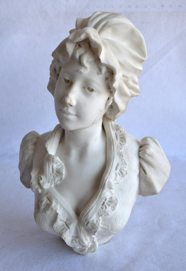Marble bust of an Italian maiden wearing a bonnet,