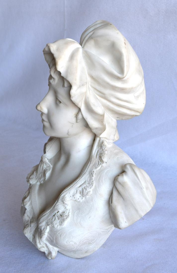 Marble bust of an Italian maiden wearing a bonnet, - 2