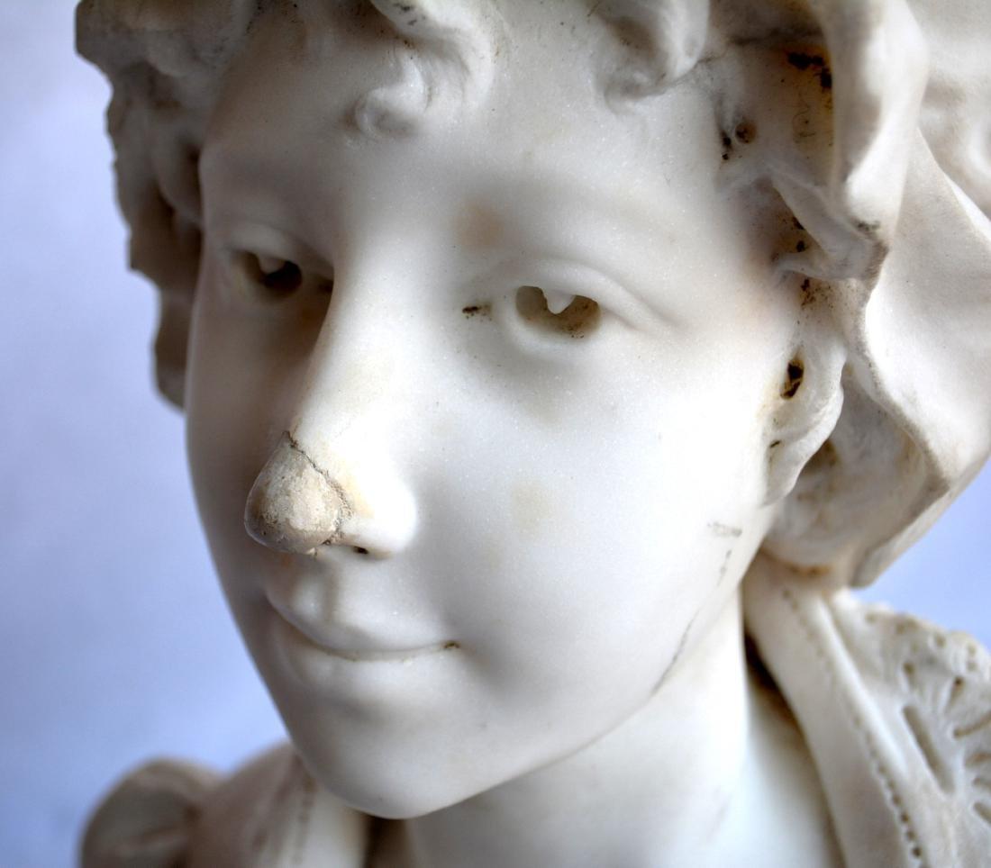 Marble bust of an Italian maiden wearing a bonnet, - 4
