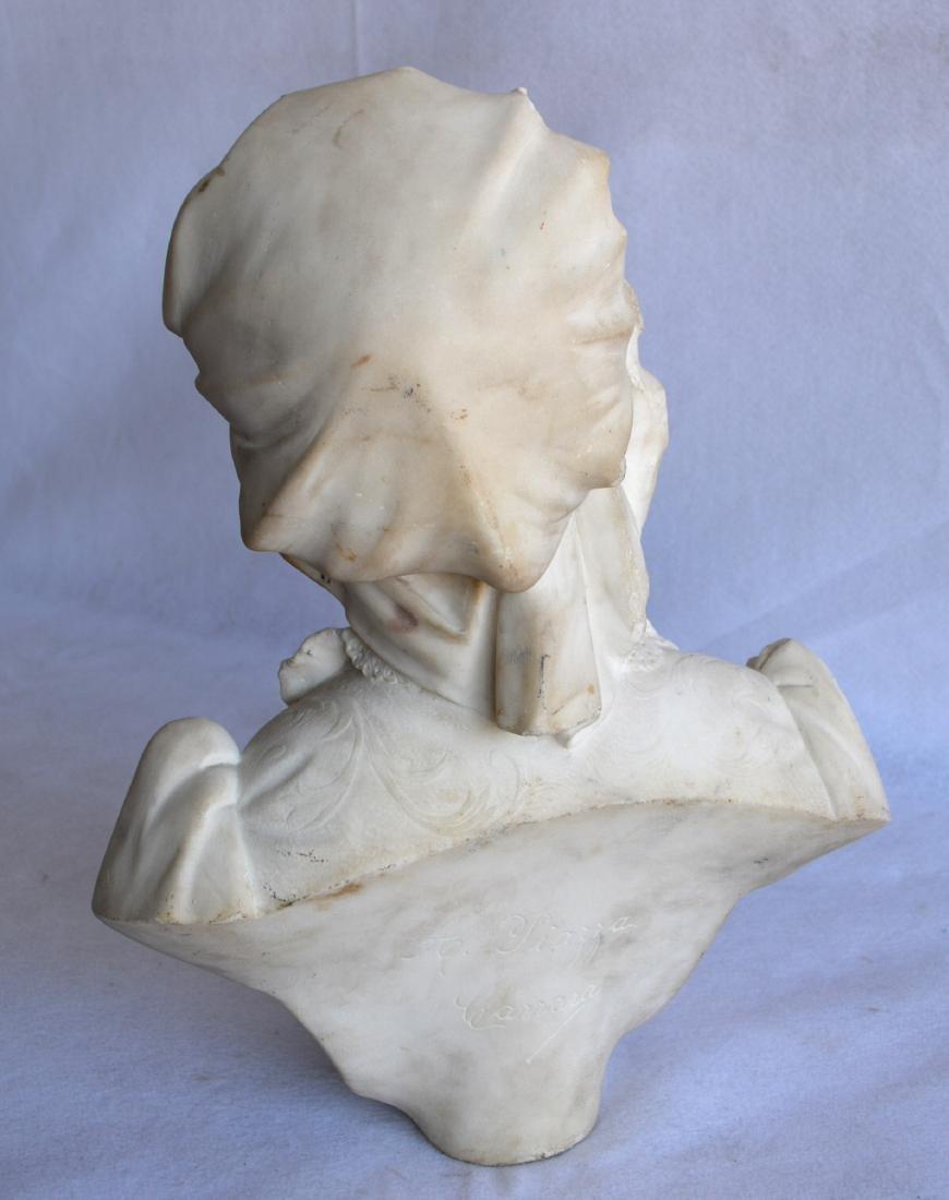 Marble bust of an Italian maiden wearing a bonnet, - 5