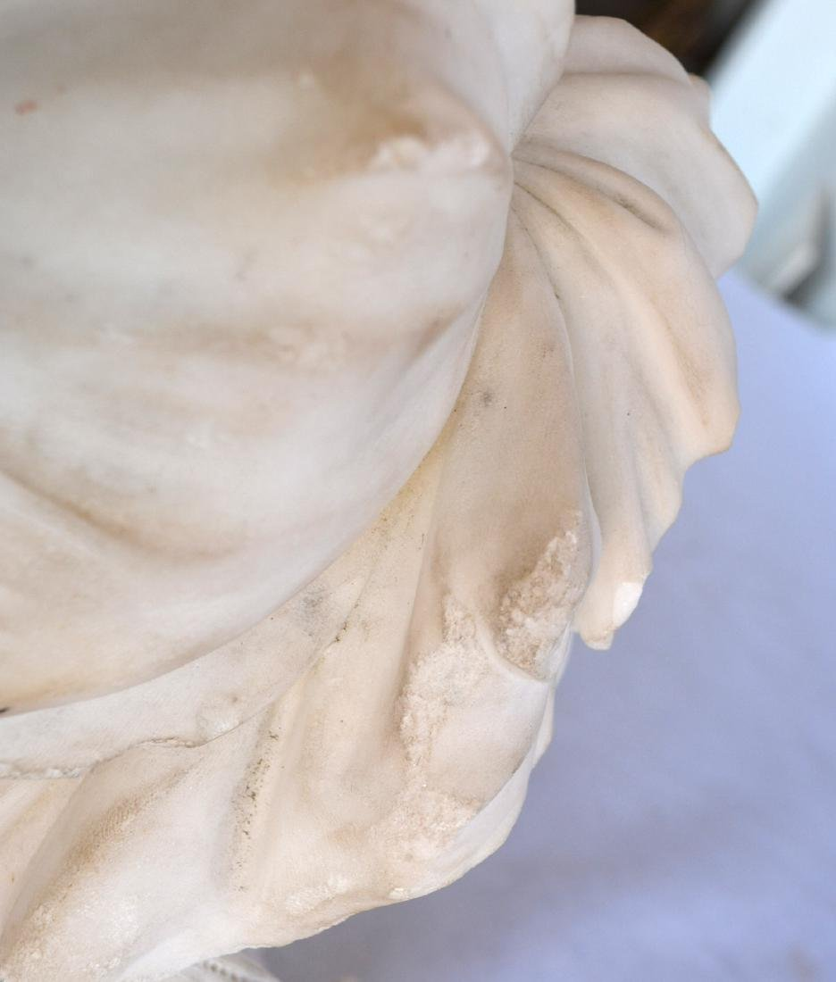 Marble bust of an Italian maiden wearing a bonnet, - 6