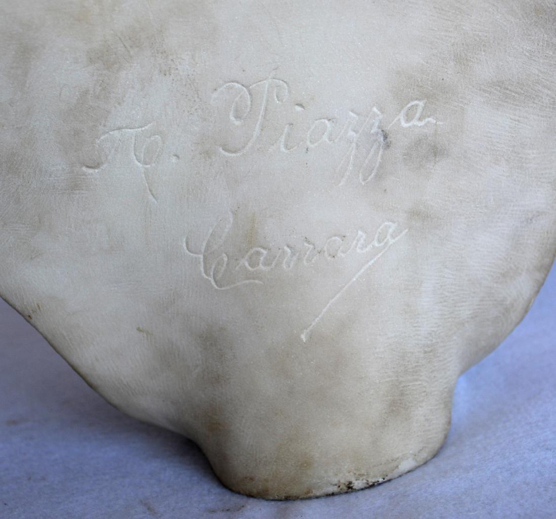 Marble bust of an Italian maiden wearing a bonnet, - 7