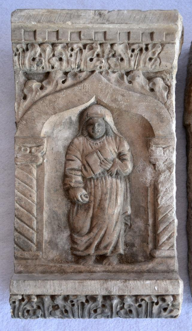 Two early stone religious sculptures carved in relief, - 2