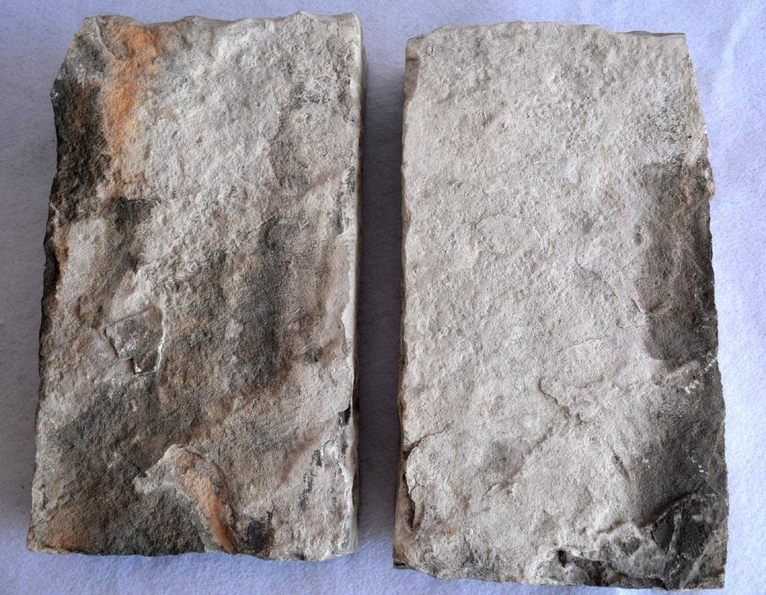 Two early stone religious sculptures carved in relief, - 5