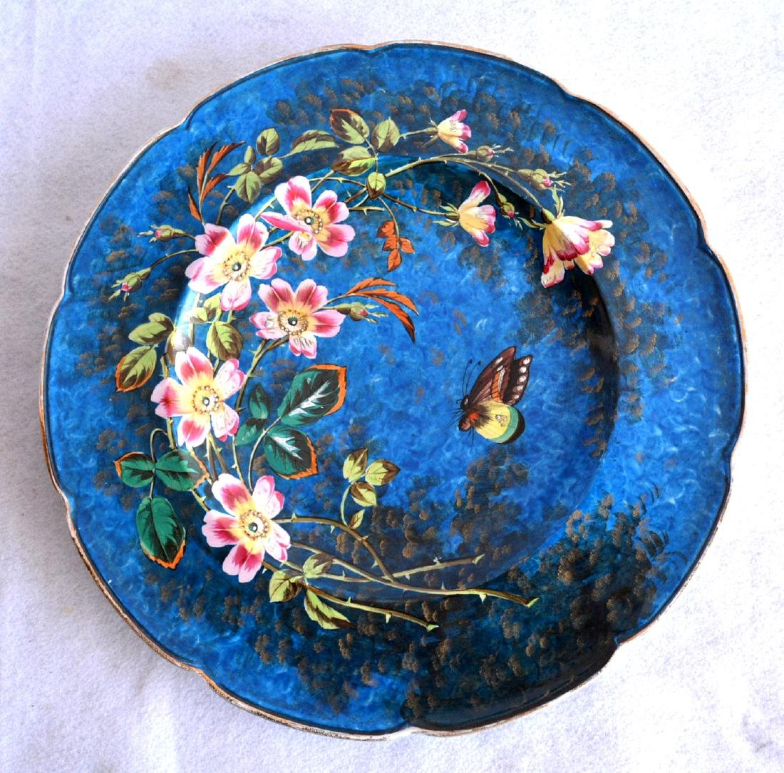 Porcelain hand painted charger decorated with colorful