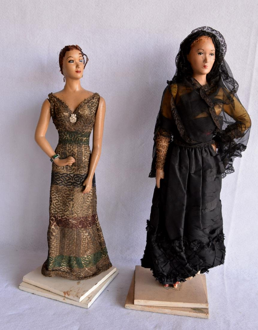 Two rare fashion composition dolls, each with original