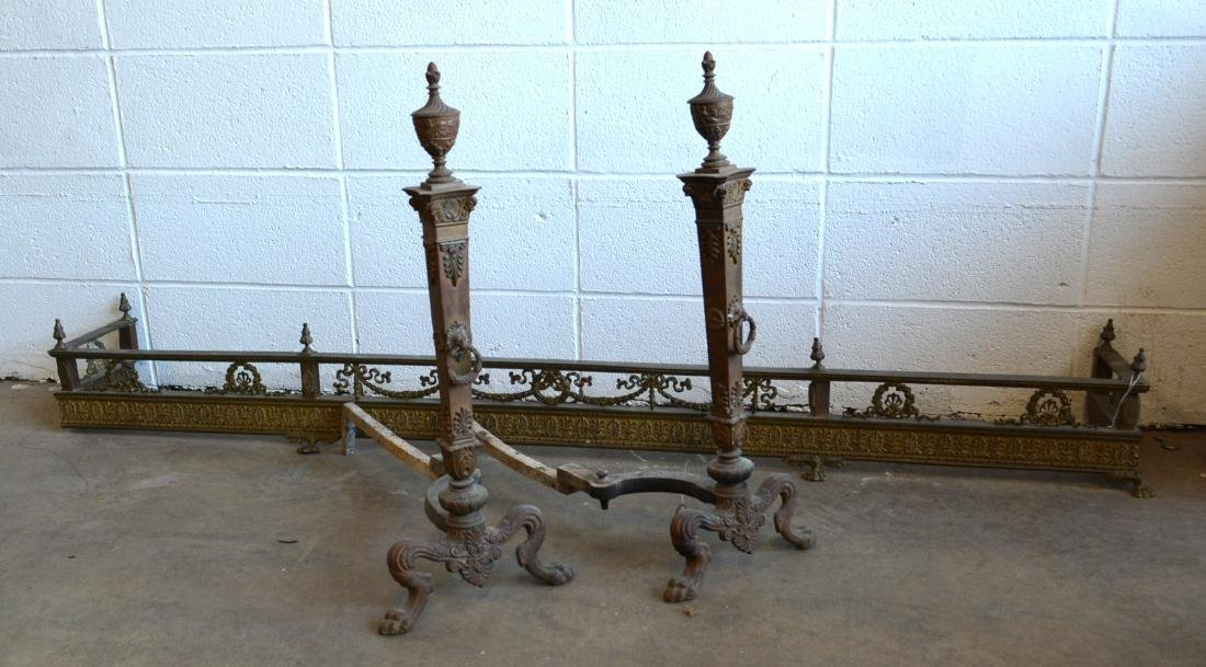 Two fancy hearth items: 1) Pair of brass French style