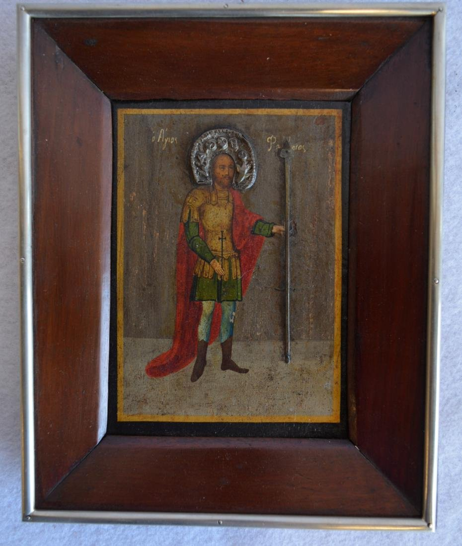 Hand painted Greek icon of Saint Patapios of Thebes on
